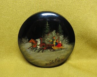 Vintage USSR 1952 Russian lacquer box Fedoskino Hand Painted