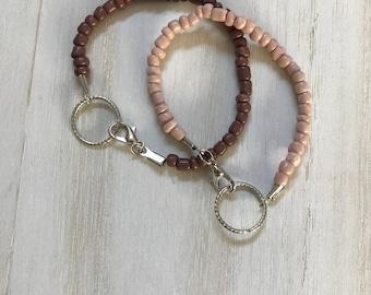 Tan/ Brown Beaded Bracelet, Tan Bead Bracelet, Brown bead bracelet