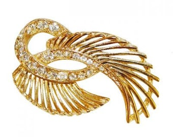 VINTAGE brooch - leaf Crystal