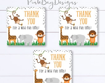 Party Animal Thank You Tags, Safari Thank You Tags, Jungle Thank You Tags, Animal Birthday, Instant Download, Animal Party Favors, Zoo Party