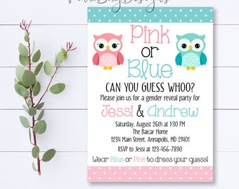 Owl Gender Reveal Invitation, Owl Gender Reveal, Gender Reveal Invitation, Gender Reveal Party, Owl Gender Reveal, Pink Or Blue Invite