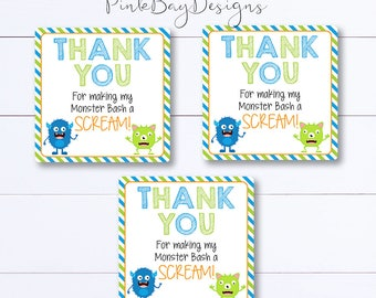 Monster Thank You Tag, Monster Favor Tag, Monster Birthday Favor, Monster Party Tag, Thank You Tag, Instant Download, Monster Party Tag