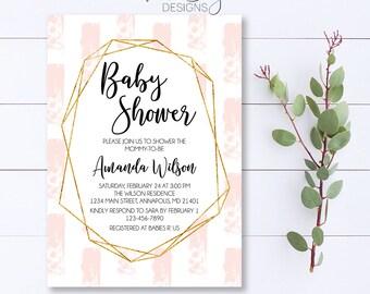 Blush Baby Shower Invitation, Geometric Baby Shower Invitation, Modern Baby Shower Invite, Gold Baby Shower Invite, Baby Shower