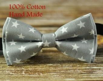Men Women 100% Cotton Grey Gray White Stars Pattern Craft Bow Tie Bowtie Wedding Party