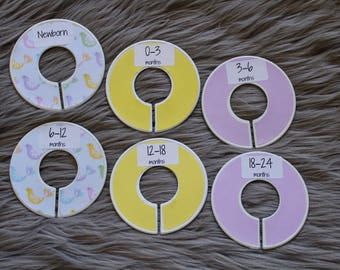 Chirpy birds pastel colour baby closet dividers for baby nursery or baby shower gift