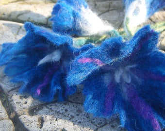 felted 'blue morning glories' flowers