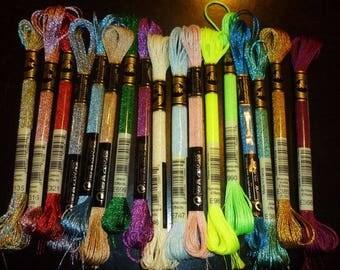 set of 5 skeins of DMC threads