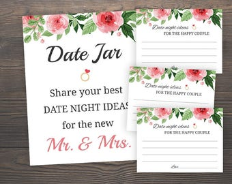 Date Night Ideas for Bride and Groom, Floral Bridal Shower, Date Night Ideas for the new Mr and Mrs, Date Jar Sign, Printable Wedding, J003
