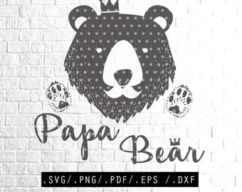 Papa Bear SVG Files DIY Download Print Clipart for Silhouette Cricut Cutting Machine Design