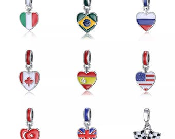 Country Color Flag Euro Bead Charm for European Bead Bracelets or to Put on Chain, Bracelets, Large Hole Bead Charm Pandora Style Chains