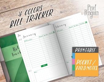 TN Bill Planner Insert, Travelers Notebook Pocket, Printable Bill Tracker, Finance Planner, Bill Organizer, Cahier Size, Field Notes, Midori