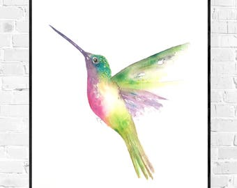Original hummingbird watercolor painting-watercolor-original watercolor-original Hummingbird bird painting-colorful art-zen art-watercolor-zen