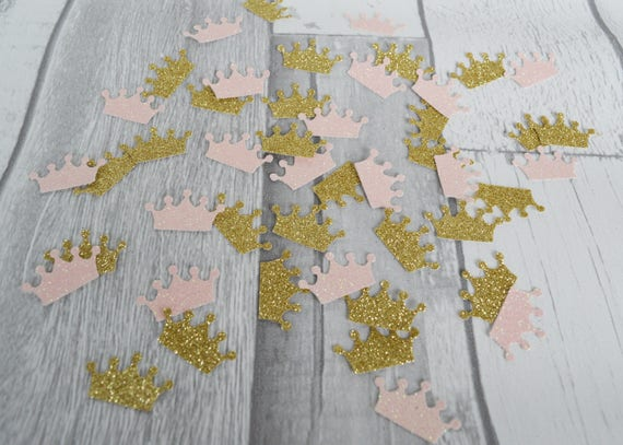 Baby Showers Wirral ~ Pale pink and gold crown confetti princess party decor