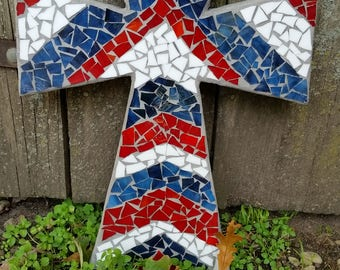 Mosaic Cross- Red, White and Blue