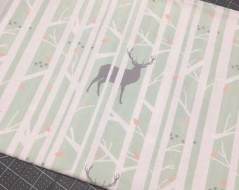 Woodland scrap fabric, Deer scrap fabric, Tree scrap fabric, Mint fabric, Sewing & Crafting Supplies, fabric destash, fabric remnant