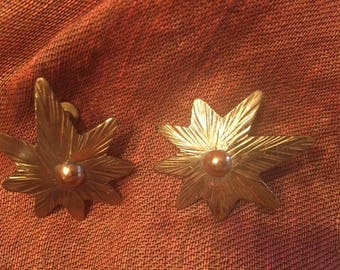Vintage J.B. Pericles Single Starflower Brass and Copper Earrings