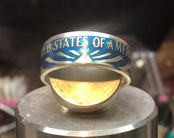 Ellis island coin ring