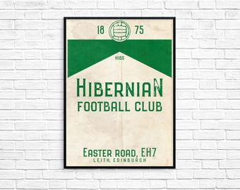 Easter Road Hibernian Football Club Print Picture Art Poster Retro Style Print Hibs