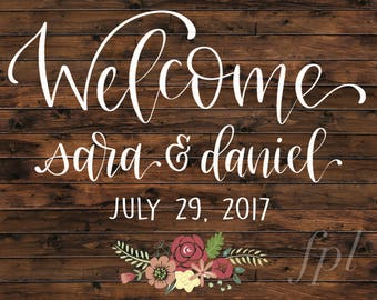 Wedding Welcome Sign - Printable Sign, Custom Wedding Sign, Wood Sign, Chalkboard Sign, Rustic Wedding Sign