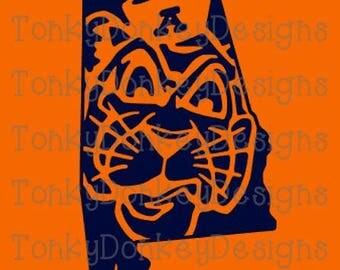 Auburn Tigers Digital Download cut files (dxf, eps, svg, studio3, jpeg) for cutting machines (Silhouette, Cricut, Brother, etc.)