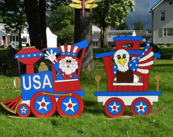 4th of July Yard Art, July 4th Wood Painted Yard Decoration, Uncle Sam Yard Stake, Patriotic Eagle Garden Stake, Independence Day Yard Art