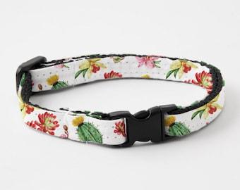 """Cat Collar Breakaway Buckle """"Cactus Floral"""""""