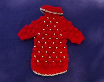 Dog coat, red glass beads. Size S
