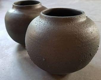 Blackstone grey matt vase with crater effects