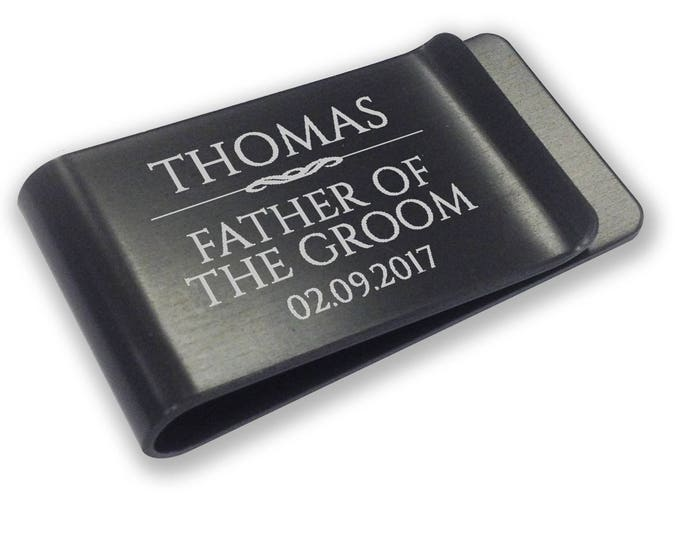 Personalised engraved father of the groom MONEY CLIP wedding gift, thank you - black money clip annodised aluminium  - LMSC7BK