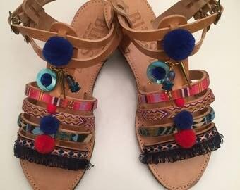 """Greek Sandals, """"Emmanouela"""", Leather Sandals, Handmade Sandals, Indian Sandals, Boho Sandals, Summer Sandals, Pompom Sandals"""