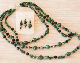 Evergreen Suite: malachite and sterling silver asymmetrical necklaces