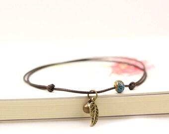 Handmade anklet, leaf anklet, blue bead anklet, leather anklet, anklet bracelet, beach anklet, women anklet, foot bracelet, ankle bracelet