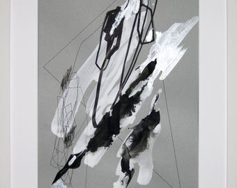 Original abstract illustration, 0627, mixed media on paper, 2017