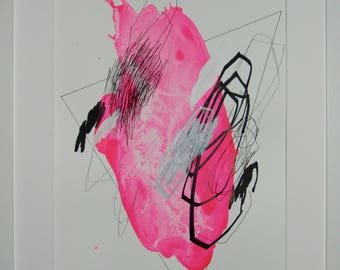 Original abstract illustration, no. 0610, mixed media on paper, 35x50cm. 2017