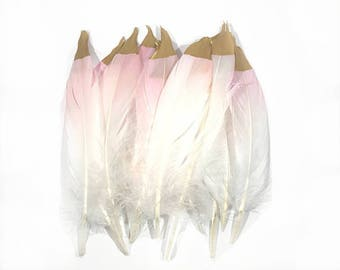 6-8 inch Died pink Natural Goose Feathers with Gold Tips