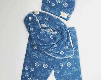 Bicycle baby outfit-boy-girl-blue-bib-knot hat-pants