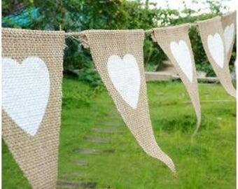 13 Pcs White Heart Burlap Bunting Banner