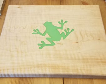 Curly Maple cutting board with Frog inlay
