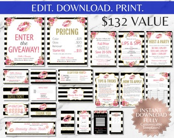 LipSense|LipSense Business Cards|LipSense Business Cards Bundle|LipSense Branding Kit|LipSense Party Kit|Ultimate |Kit|Striped|Gold|Floral
