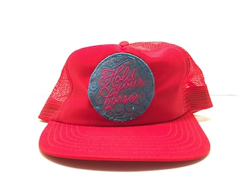 "Hold your horses trucker cap! Vintage hat! ""One size fits all"" 70's RED. Patch Cowboy/ Western"