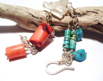 Silver bracelet with genuine turquoise Pacific coral and white Quartz