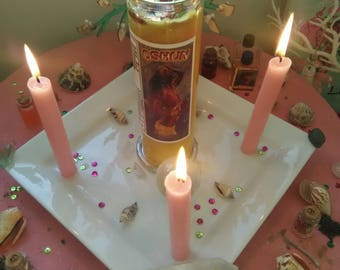 Maferefun Oshun, Blessed Candle, Dressed Candle, Fixed Candle, Affirmation Candle,7 day Candle, Prayer Candle, Orisha Candle, Oshun candle