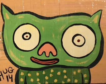 Green Jelly Bean Demon Acrylic Painting on Reclaimed Wood