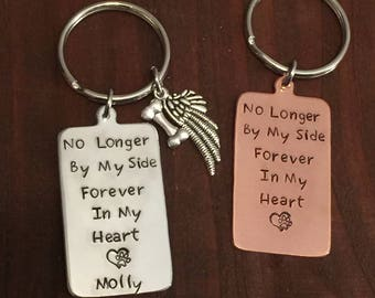Pet Memorial Keychain- Pet Remembrance Key Ring- Loss of Pet- Dog Loss Keychain- Personalized Pet Keychain