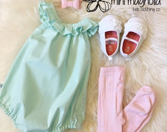 Minty Fresh romper, baby girl playsuit, ruffle neck romper