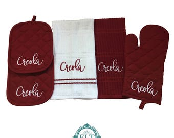 Tanya 5-Piece Personalized Kitchen Towel Set