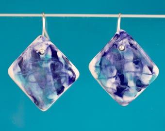 Tie dye earrings / Statement earrings / Hippie earrings / Porcelain earrings / Ceramic earrings / Porcelain jewelry