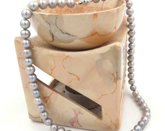 Grey freshwater pearls Choker necklace mm. 7.0 ladies 18kt.-river pearls Necklace in gray color mm. 7.0 women's 18kt gold