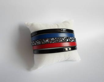 Red blue black leather cuff
