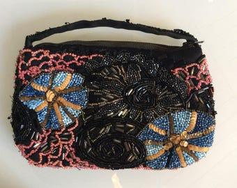 Vintage 1950's handbag - Embroidered beads evening purse - small chic handbag